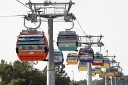 Gondolas move to various locations at Walt Disney World on the Disney Skyliner aerial tram, in Lake Buena Vista, Fla.
