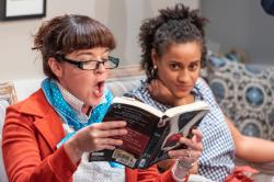 "Becca A. Lewis and Rachel Cognata in ""The Book Club Play"" at Boston Playwrights' Theatre through October 13"
