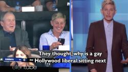 "Ellen DeGeneres on her ""Ellen"" talkshow showing footage of herself with former President George W. Bush at a Dallas Cowboys football game."
