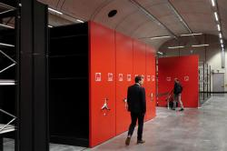 Reinforced storage lockers are pictured at the Louvre Conservation Center, which was inaugurated in Lievin in northern France.