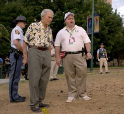 "Writer-director Clint Eastwood, left, and actor Paul Walter Hauser during the filming of ""Richard Jewell."""