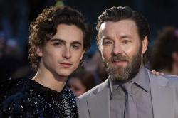 "Timothee Chalamet, left, and Joel Edgerton at the premiere of the ""The King"" during the London Film Festival."