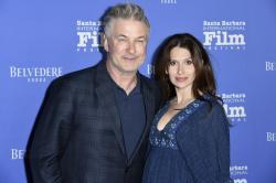Alec Baldwin, left, and Hilaria Baldwin at the Santa Barbara International Film Festival in Santa Barbara, Calif.