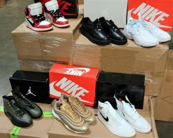 More than 14,800 pair of counterfeit Nike shoes, seized in a shipment arriving from China at the Los Angeles-Long Beach ports complex.