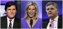 "From left, Tucker Carlson, host of ""Tucker Carlson Tonight,"" Laura Ingraham, host of ""The Ingraham Angle,"" and Sean Hannity, host of ""Hannity"" on Fox News."
