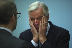 European Union chief Brexit negotiator Michel Barnier attends the weekly EU College of Commissioners meeting at EU headquarters in Brussels, Wednesday, Oct. 16, 2019