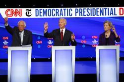 Democratic presidential candidate Sen. Bernie Sanders, I-Vt., left, former Vice President Joe Biden, center, and Sen. Elizabeth Warren, D-Mass.
