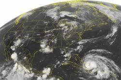 This Wednesday, Aug. 24, 2011 NOAA satellite image shows Hurricane Irene, a category 2 storm with winds up to 100 mph and located about 400 miles southeast of Nassau
