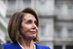 House Speaker Nancy Pelosi of Calif., listens while speaking with reporters after a meeting with President Donald Trump at the White House, Wednesday, Oct. 16, 2019, in Washington