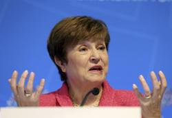International Monetary Fund (IMF) Managing Director Kristalina Georgieva speaks during a news conference during the World Bank/IMF Annual Meetings in Washington, Thursday, Oct. 17, 2019