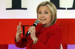 Hillary Clinton speaks during the TIME 100 Summit, in New York.