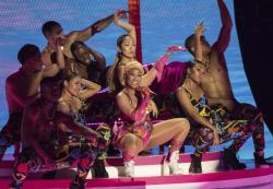 Nicki Minaj performing at the European MTV Awards in Bilbao, Spain.