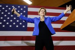 In this Oct. 21, 2019, photo, Democratic presidential candidate Sen. Elizabeth Warren, D-Mass.