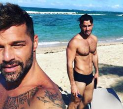 Ricky Martin, left, with husbandJwan Yosef.