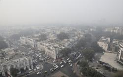 Delhi's sky line is seen enveloped in smog and dust in New Delhi, India, Friday, Nov. 1, 2019