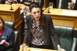 New Zealand Prime Minister Jacinda Ardern talks in Parliament in Wellington, New Zealand Thursday, Nov. 7, 2019