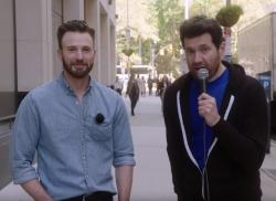"Chris Evans, left, and Billy Eichner on ""Billy on the Street."""