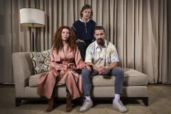 From left, director Alma Har'el, actor Lucas Hedges and actor Shia LaBeouf