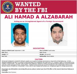 This FBI internet wanted poster, released Thursday, Nov. 7, 2019, shows Ali Alzabarah, sought in connection with alleged spying on critics of Saudi Arabia on Twitter