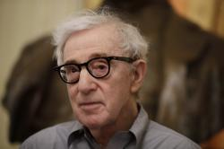 Woody Allen attends a press conference at La Scala opera house, in Milan, Italy.