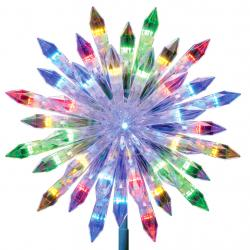 Lowes' rainbow-hued color changing starburst tree topper.