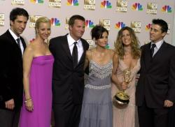 From left, David Schwimmer, Lisa Kudrow, Matthew Perry, Courteney Cox Arquette, Jennifer Aniston and Matt LeBlanc pose after the show won outstanding comedy series at the 54th Annual Primetime Emmy Awards, at the Shrine Auditorium in Los Angeles.