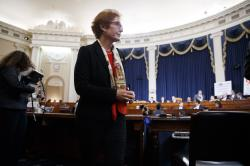 Former U.S. Ambassador to Ukraine Marie Yovanovitch gets up during a break in testimony before the House Intelligence Committee, Friday, Nov. 15, 2019, on Capitol Hill in Washington.