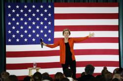 In a Monday, Nov. 4, 2019 file photo, Democratic presidential candidate Sen. Elizabeth Warren