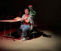 "Brian Kozak in ""Hand to God,"" through December 8 at the Burbage Theatre Company"