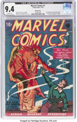 A rare near mint condition copy of the first Marvel Comics comic book.