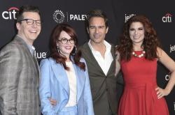 """Sean Hayes, from left, Megan Mullally, Eric McCormack and Debra Messing attend the 35th Annual Paleyfest """"Will & Grace"""" in Los Angeles."""