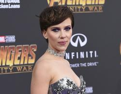 """Scarlett Johansson arrives at the world premiere of """"Avengers: Infinity War"""" in Los Angeles."""