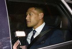 Australian rugby union player Israel Folau leaves a Code of Conduct hearing in Sydney, Sunday, May 5, 2019