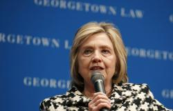 Hillary Clinton speaks at Georgetown Law's second annual Ruth Bader Ginsburg Lecture, in Washington.