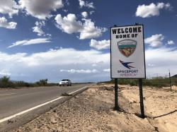 This Aug. 15, 2019 image shows the road to Spaceport America near Upham, New Mexico