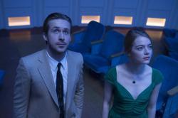 "Ryan Gosling, left, and Emma Stone in a scene from, ""La La Land."""