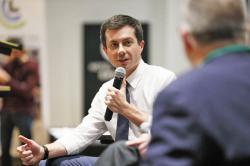 Democratic presidential candidate South Bend, Ind., Mayor Pete Buttigieg speaks during the Iowa Farmers Union Presidential Forum, Friday, Dec. 6, 2019, in Grinnell, Iowa
