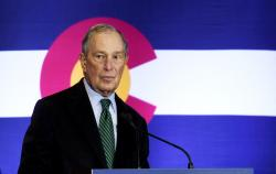 Democratic presidential contender Michael Bloomberg speaks to gun control advocates and victims of gun violence in Aurora, Colo., on Thursday, Dec. 5, 2019