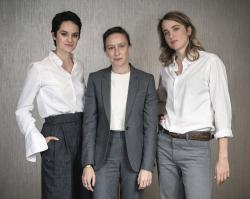 "This Sept. 30, 2019 photo shows, from left, actress Noémie Merlant, filmmaker Céline Sciamma, and actress Adèle Haenel posing for a portrait in New York to promote their film, ""Portrait of a Lady on Fire."""