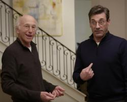 "Larry David, left, and Jon Hamm, right in the trailer for ""Curb Your Enthusiasm"" Season 10 trailer."