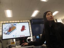In this Dec. 12, 2019 photo, Bijia Chen, an engineer with a technology company that won a federal contest to find new or better ways to scan incoming mail for illegal opioid shipments, demonstrates how the computer analysis works at a demonstration in Egg Harbor Township, N.J.
