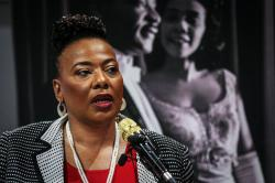 Bernice King, daughter of slain civil rights leader Rev. Martin Luther King Jr., speaks about a series of events to be held in and around The King Center, on Thursday, Jan. 9, 2020, in Atlanta