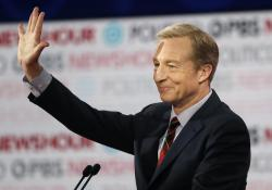 In this Dec. 19, 2019, file photo, Democratic presidential candidate businessman Tom Steyer waves before a Democratic presidential primary debate in Los Angeles, Calif.