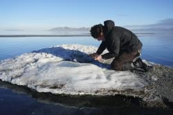 In this undated photo provided by the Utah Division of Parks and Recreation, are rare salt formations that are being are being documented for the first time along the shores of the Great Salt Lake in Utah