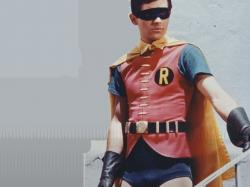 "Burt Ward as Robin, the Boy Wonder, in the 1960s series ""Batman."""