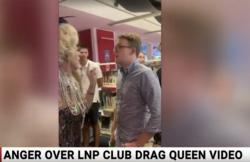 A still from Sky News's report about students, including Wilson Gavin, protesting a drag queen event at Brisbane Square Library.