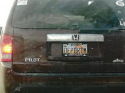 This undated photo provided by Matt Pacenza shows a license plate on a vehicle
