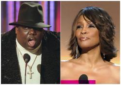 Notorious B.I.G., left, and Whitney Houston, right