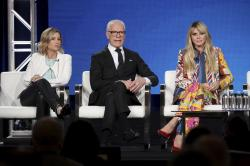"Sara Rea, from left, Tim Gunn and Heidi Klum appear at the ""Making the Cut"" panel during the Amazon TCA 2020 Winter Press Tour."