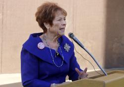 Republican state Sen. Sylvia Allen speaks to opponents of Arizona's current sex education laws at the state Capitol in Phoenix.